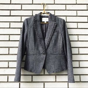 Banana Republic Grey Tweed Ruffle Collar Blazer